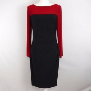 Ralph Lauren Color Block Dress Size 10 Ruched Side